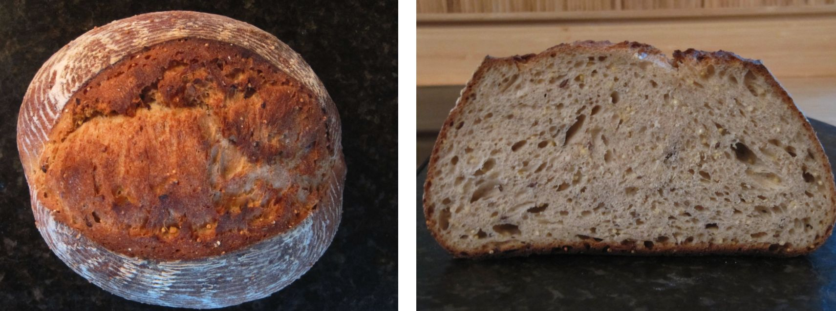 Crusty sourdough bread