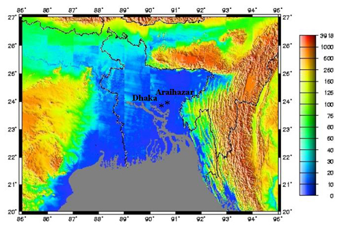 Bangladesh Young Flat And Vulnerable Highly Allochthonous - Metres above sea level