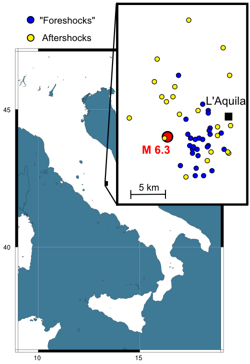 Map of the last months earthquakes near L'Aquila