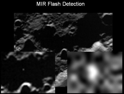 LCROSS infrared image showing flash from impact of Centaur stage
