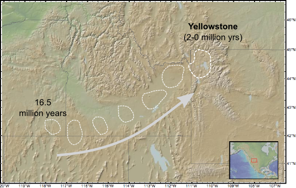Path of the Yellowstone hotspot