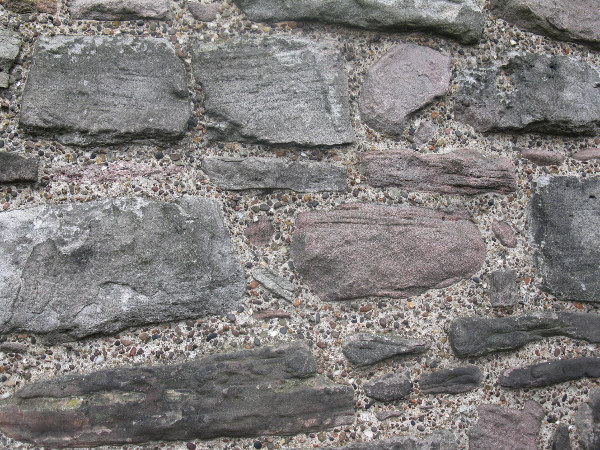 Stonework on St. Margaret's Chapel, the oldest extant building in Edinburgh Castle