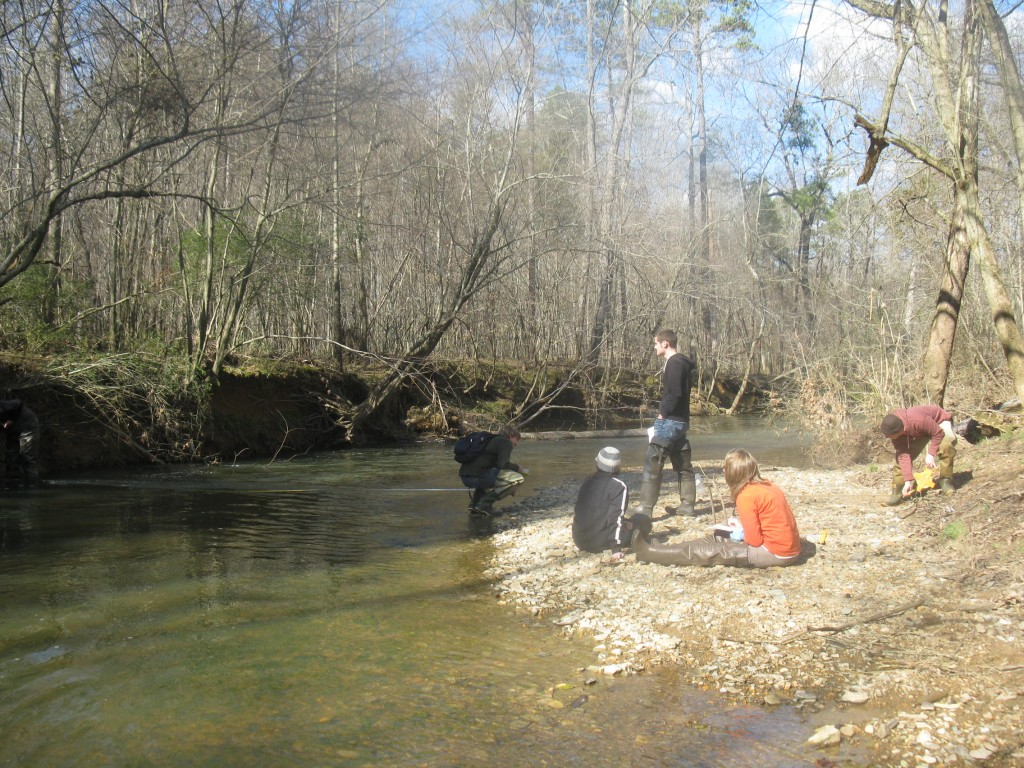 UNCC Fluvial Processes class at Goose Creek