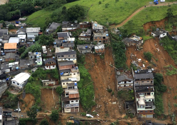 Landslide scars in Brazil, January 2011