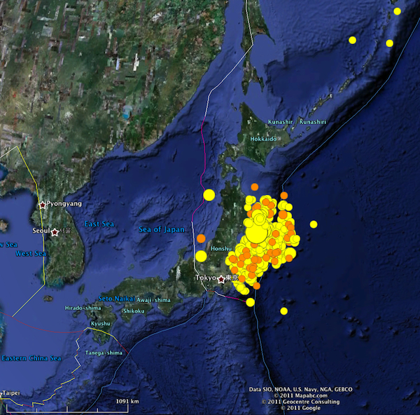 Aftershocks of the sendai earthquake highly allochthonous the last 7 days of earthquake activity in japan data from the usgs gumiabroncs Image collections