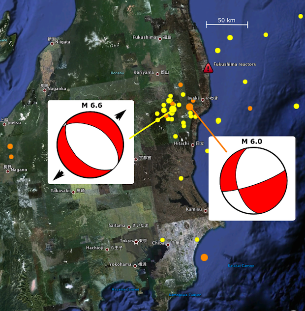Earthquake location matters part eleventy highly allochthonous recent aftershocks close to the crippled fukushima nuclear plant yellow circles last 7 days orange circles last 24 hours imagery from google earth gumiabroncs Image collections