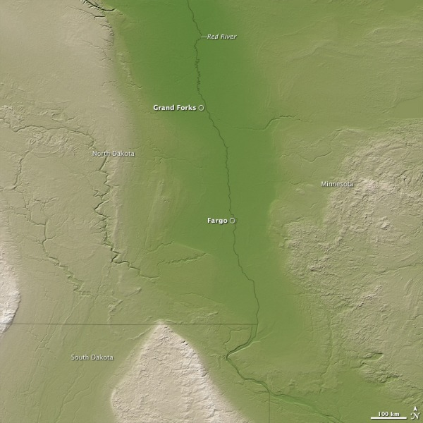 Topography of the US portion of the Red River Valley from SRTM data as displayed by NASA's Earth Observatory