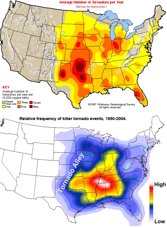Natural Disasters May Not Always Hit Hardest Where Youd Expect - Map of tornado frequency in us