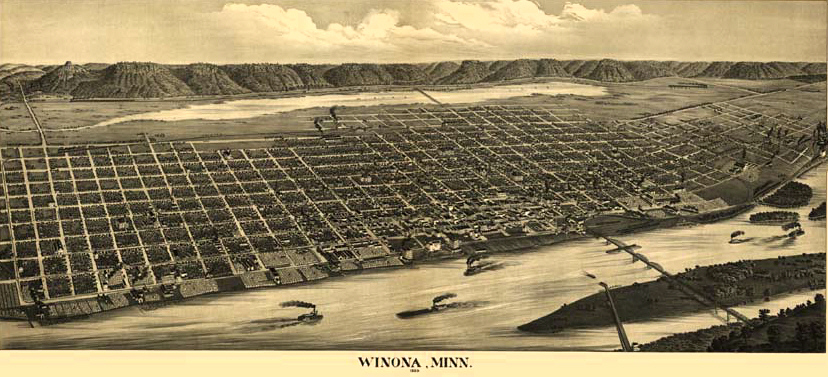 Panoramic map of Winona (1889, Minnesota Historical Society)