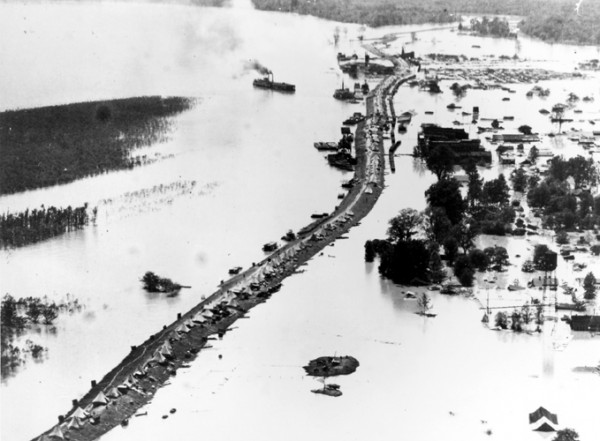 Flooding in Arkansas, along the Mississippi River, 1927 (Corps of Engineers photo)