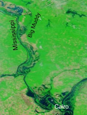 NASA MODIS image of flooding along the Middle Mississippi, 20 May 2011