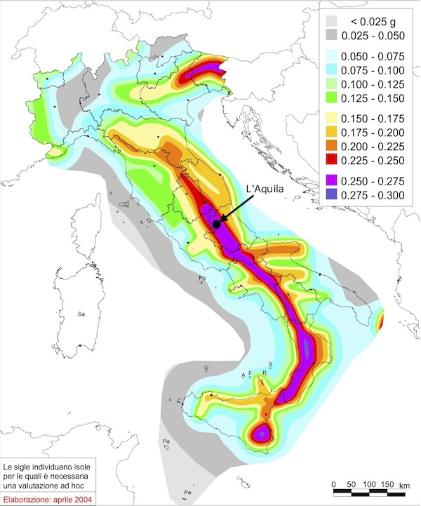 Seismic hazard map of Italy