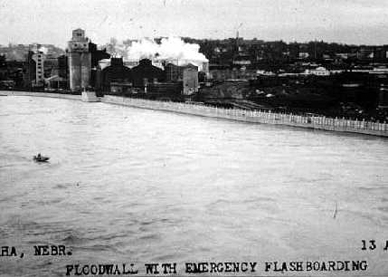 Floodwall (with emergency height added) in Omaha, Nebraska during the record 1952 floods.