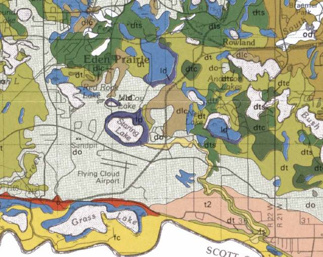 Surficial geology of Staring Lake and surrounding areas