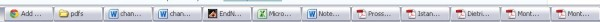 Image of taskbar showing all the paper-related files open