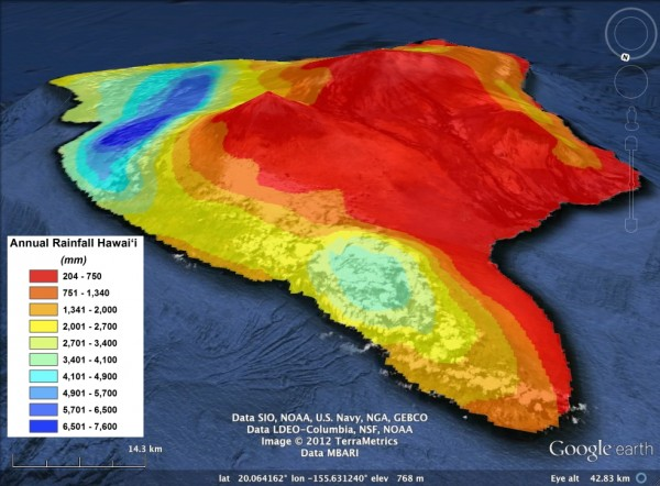 Mean annual rainfall for the Big Island.