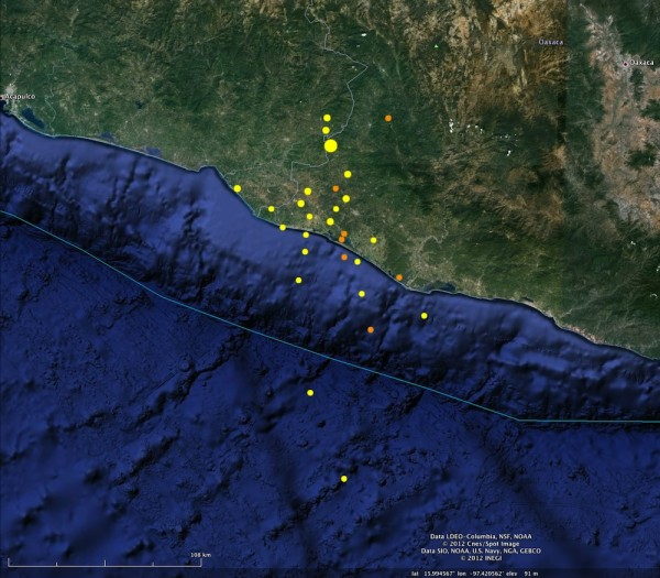 Aftershocks of the Oaxaca quake