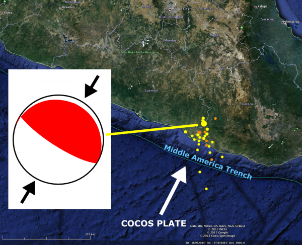Focal mechanism for Oaxaca earthquake