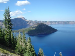 Crater Lake and Wizard Island in the remnants of Mt. Mazama, Oregon. Photo by A. Jefferson, 2005.