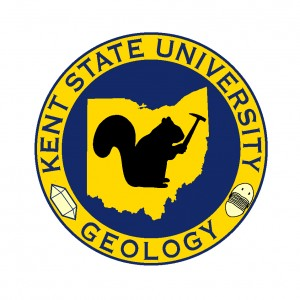 Black squirrel with rock hammer, the Kent State Geological Society logo
