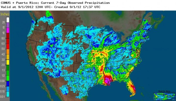Colorful image of rain in Louisiana, Florida, Arkansas and Missouri as a result of Isaac.