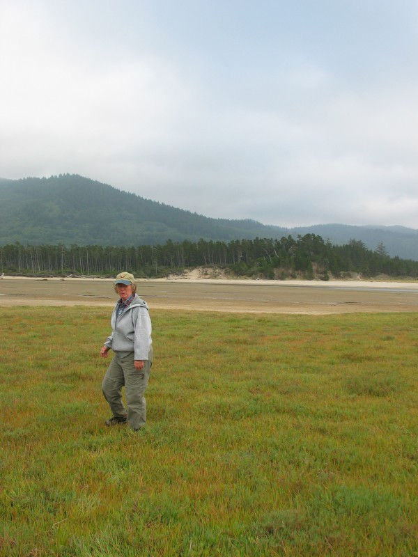Woman scientist walking through a slat marsh with mountains in the background