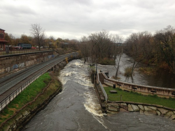 Cuyahoga River in Kent Ohio with impressive whitewater as it passes through an old lock.