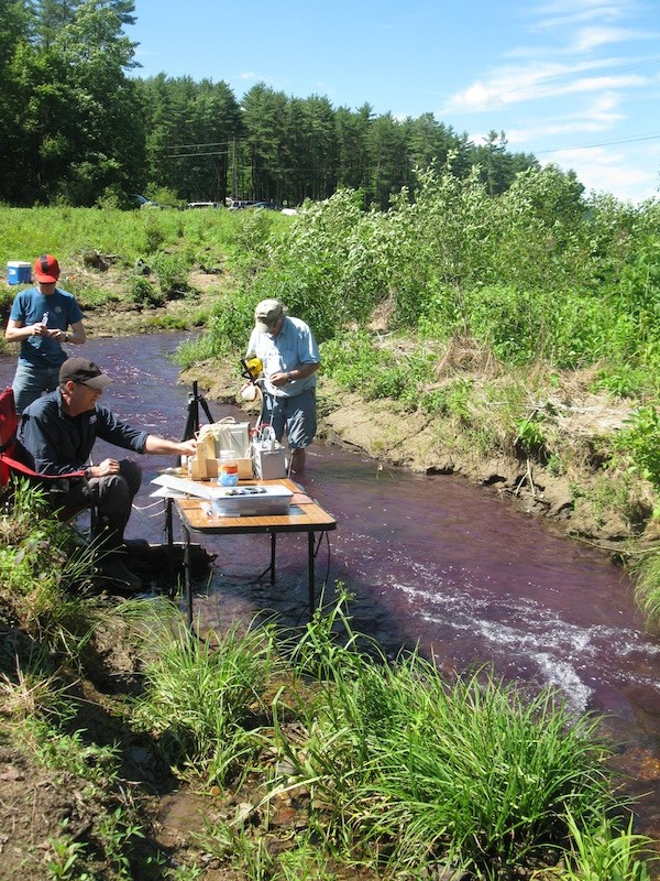 Purple stream with hydrologists in it.