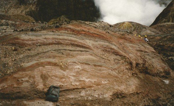 Ash and pyroclastic flows, White Island, New Zealand.