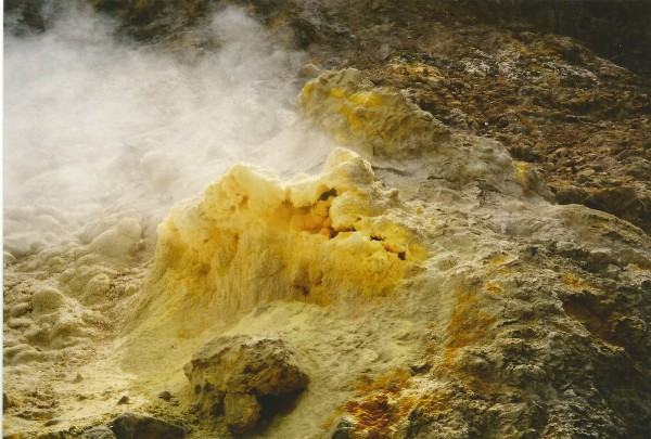 Volcanic sulphur deposits, White Island, New Zealand.