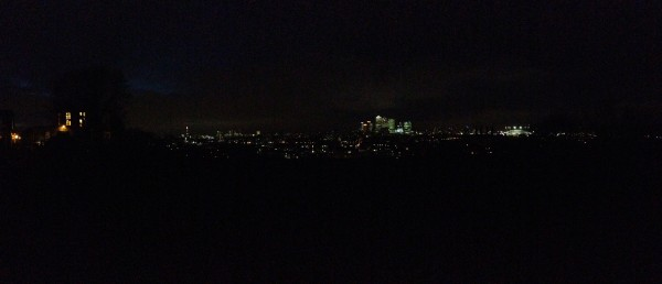 City lights in a panorama of blackness