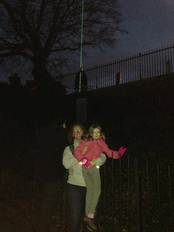 Green laser line in the night sky marks the Prime Meridian, I'm underneath it.
