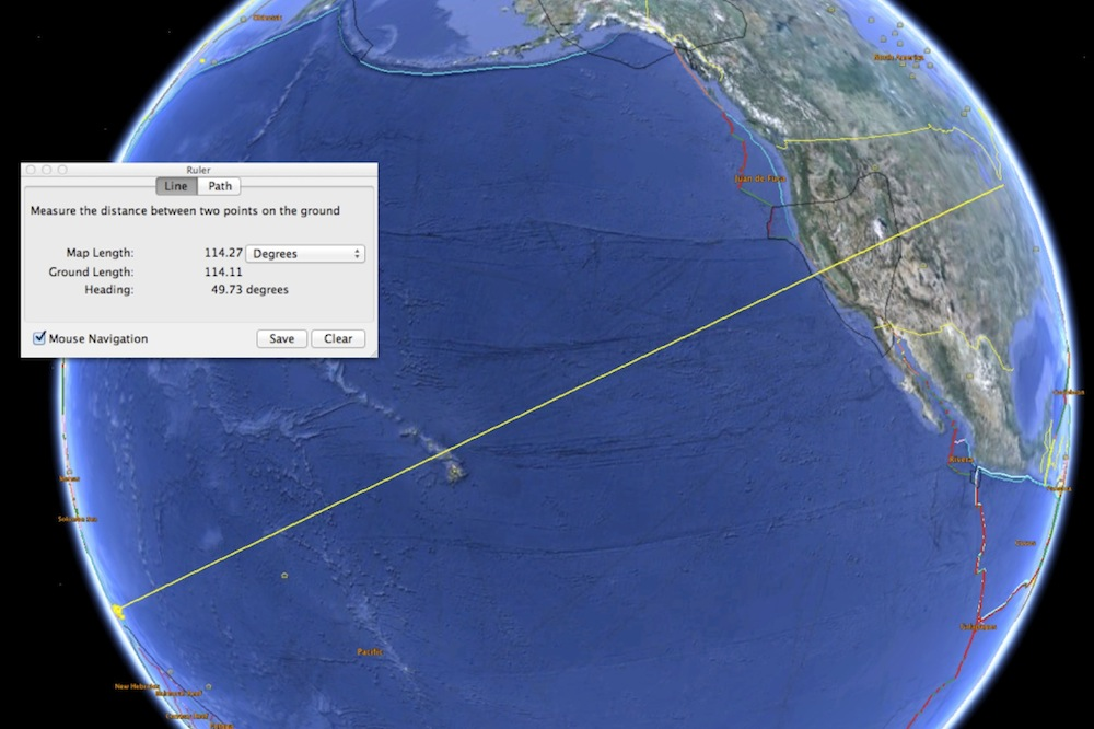 If you measure the great circle distance between the Santa Cruz Islands and the Eastern US, you find yourself in the shadow zone.