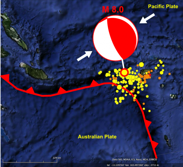 Earthquakes in the Santa Cruz Islands region, SW Pacific, Feb 2-8th 2013. The NE-SW thrust focal mechanism of the M8 mainshock on 6th February is also shown.