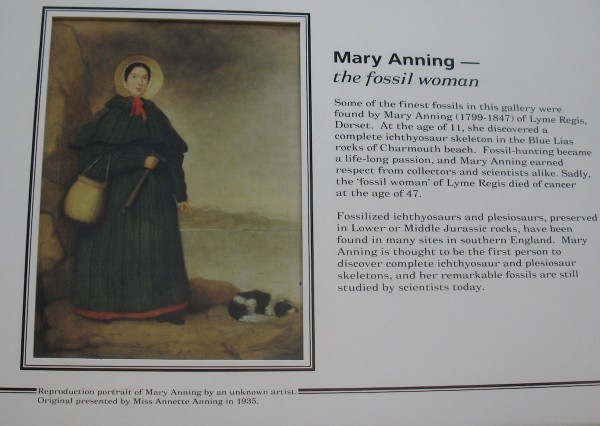 portrait of Anning on left, text on right
