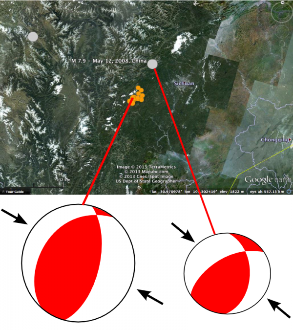Location and focal mechanism for M 6.6 earthquake on 20th April 2013 in Sichuan Province China (orange dots include first 12 hours of aftershocks) and the May 2008 M 7.9 Wenchuan earthquake (grey dot). Data from USGS.