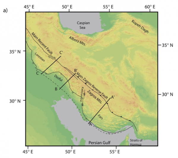 Map of Zagros Mountains. Cross-section A-A' is reproduced below. From McQuarrie(2004).