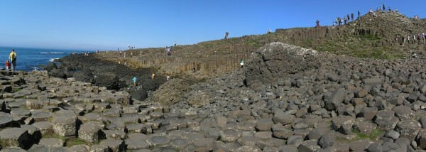 A panorama looking out to sea across the Giant's Causeway, Northern Ireland.  Photo: Chris Rowan, 2013