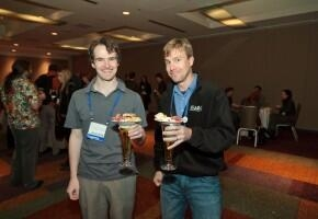 Chris enjoying AGU. Beer optional. Image: American Geophysical Union (but obviously fair use, I'd say).