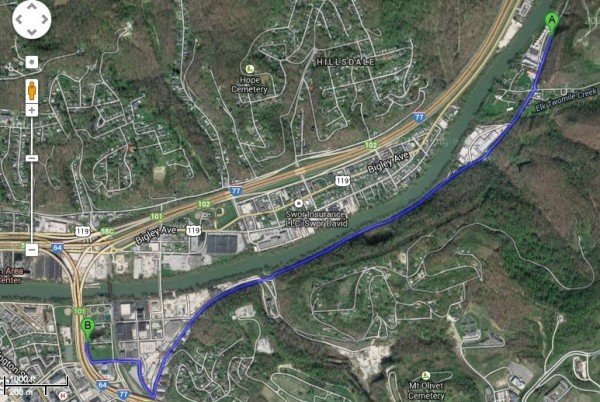 Google Maps of Elk River and surroundings.