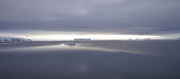 Tabular icebergs backlit by dawn's early light in the Weddell Sea