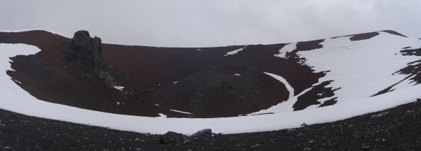 Panoramic view of the summit crater,  Penguin Island. Cinder cone towards the centre, volcanic plug on the left. Photo: Chris Rowan, 2013.