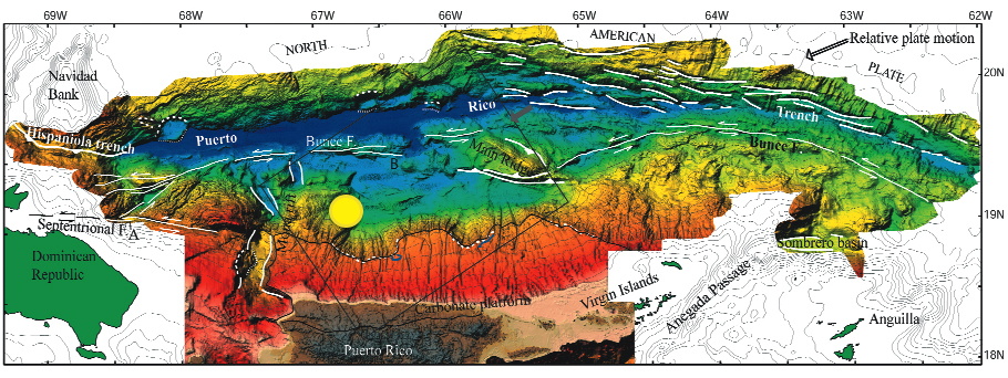 Puerto Rico Trench Bathymetry Highly Allochthonous
