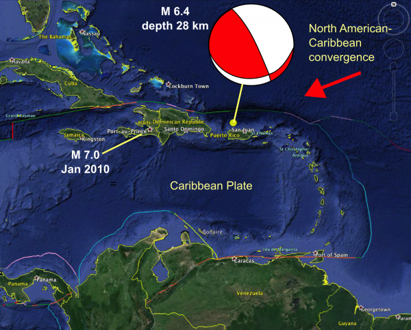 Location of the Puerto Rico and Haiti Earthquakes