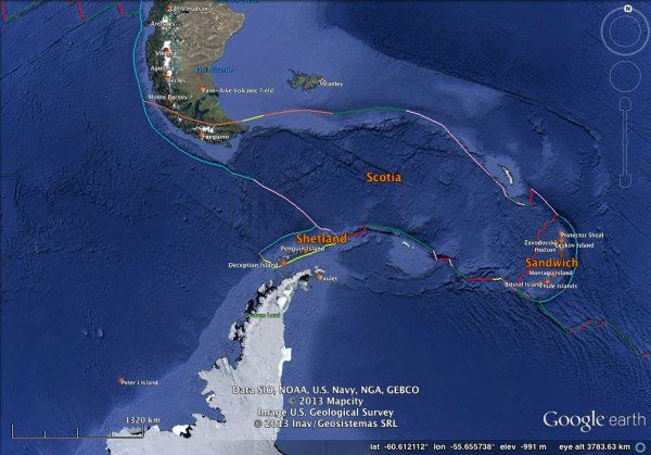Bathymetry and tectonic plate boundaries in the Drake Passage.