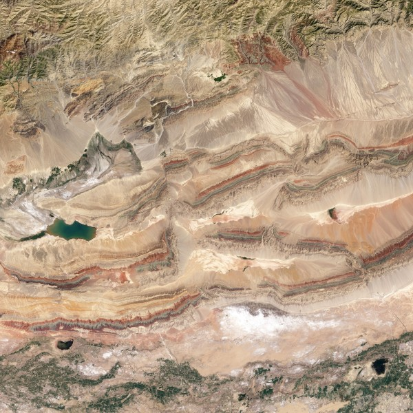 Satellite view of the foothills of the Tien Shan mountains
