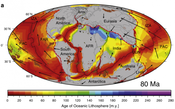 80 Ma Global plate tectonic reconstruction