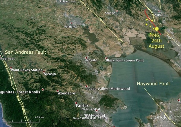Location of Napa Valley earthquake