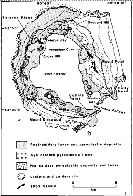 Geologic map of Deception Island from Smellie (1990).