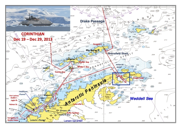 The ship's map of our voyage along the Antarctic Peninsula and surrounding islands. The blue box near the tip of the Antarctic Peninsula indicates where we were on 22 December. Click for a larger version.